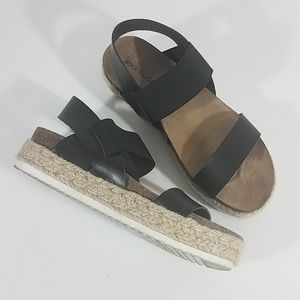 Big Buddha Black Burlap Sandals
